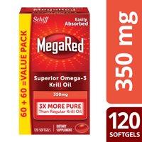 MegaRed Krill Oil Omega-3 Softgels, 350 Mg, 120 Ct