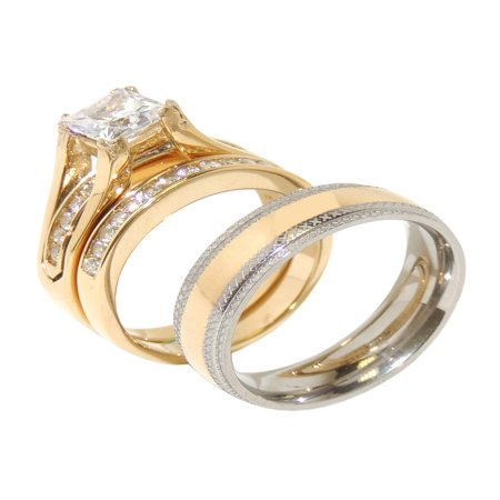His Hers Couple 7x7mm Princess Square CZ Gold Plated Wedding Ring set Mens Gold Center Band- Size