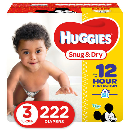 HUGGIES Snug & Dry Diapers, Size 3, 222 (Dry Time Baby Diapers)