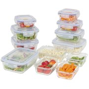 Best Choice Products 24-Piece All-Purpose Airtight Assorted Glass Food Preserving Storage Container Set w/ BPA-Free Lids, 5 Sizes - Clear