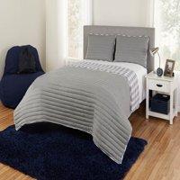 Better Homes & Gardens Grey Reversible Stripes and Checks Quilt Set