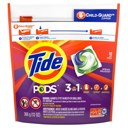 Tide PODS Liquid Laundry Detergent Pacs, Spring Meadow, 16