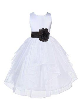 Ekidsbridal Formal Satin Shimmering Organza White Flower Girl Dress Bridesmaid Wedding Pageant Toddler Recital Easter Communion Graduation Reception Ceremony Birthday Baptism Occasions 4613t