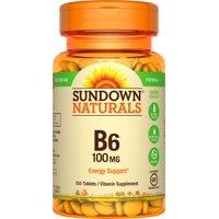 Sundown Naturals B6 Vitamin Supplement Tablets, 100mg, 150 count