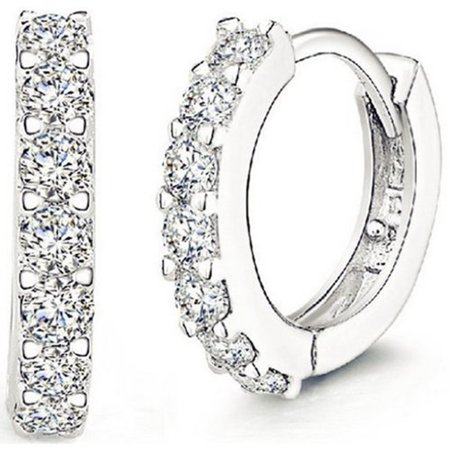Men Women Fashion Jewelry 925 Sterling Silver Sparkling Rhinestones Hoop Diamond Stud Earrings Hoop Huggie - Asos Stud