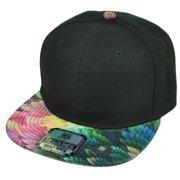 Blank Snapback Flat Bill Brim Headlines Hat Cap Pink Purple Floral Pattern  Black f2b853eb56ff