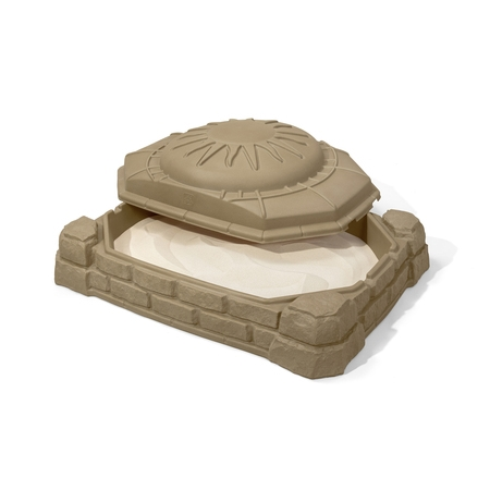 100 Sandbox - Step2 Naturally Playful 4' Rectangular Sandbox With Cover Sandstone Beige