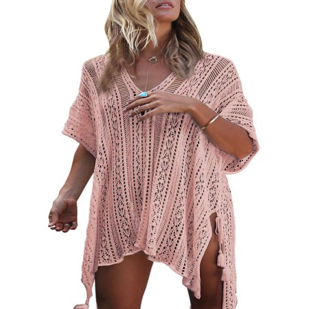 Loose Beach Dress Tops Summer Bathing Suit Women Knit Lace Crochet Hollow Out Casual Swim Cover ups V-neck Bikini Beachwear - Dress Ups For Adults