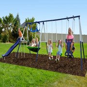 Sportspower Outdoor Rosemead Metal Swing Set with Roman Glider, Saucer, and 6ft Heavy Duty Slide