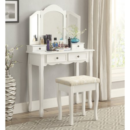 Roundhill Furniture Sanlo White Wooden Vanity, Make Up Table and Stool