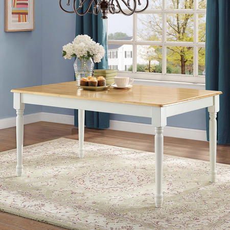 Better Homes and Gardens Autumn Lane Farmhouse Dining Table, White and Natural (Log Dining Table)