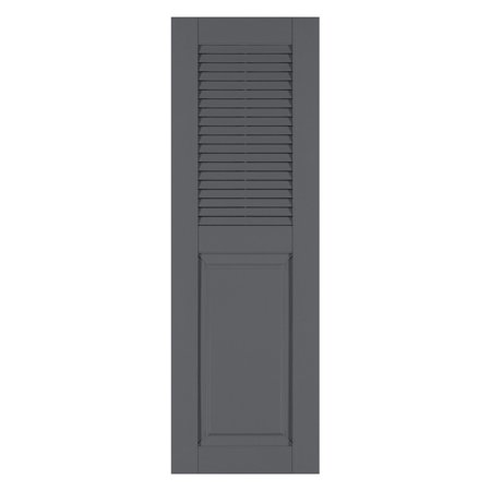 Burgundy Red Louvered Shutter - Perfect Shutters 17.75W in. Louvered Raised Panel Vinyl Shutters
