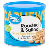 Great Value Roasted & Salted Cashew Halves & Pieces, 12 oz