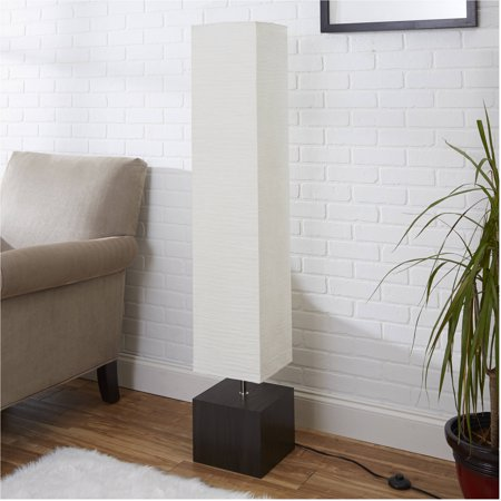 Mainstays White Rice Paper Floor Lamp with Dark Wood Base (Ride Light)