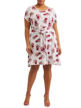 Women's Plus Size Short Sleeve Knit Dress with Tie Waist