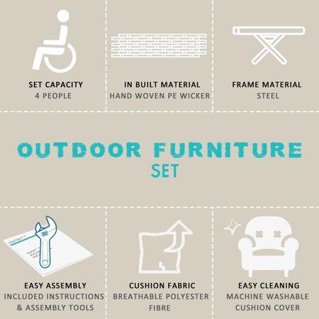 4pcs Patio Rattan Sofa Set Loveseat Cushioned Furniture Outdoor Garden - image 4 of 9