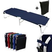 Magshion Portable Military Fold Up Camping Bed Cot + Free Storage Bag Navy Blue