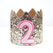 Gold Glitter Sparkles Pink 2nd Birthday Girl Hat Party Crown Toddler 2 Princess