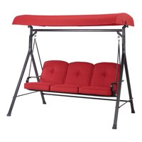 Product Image Mainstays Carson Creek 3 Seat Canopy Patio Swing With Red Cushions