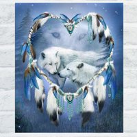 Girl12Queen White Wolf 5D Diamond Embroidery Cross Stitch Painting Kit DIY Home Wall Decor