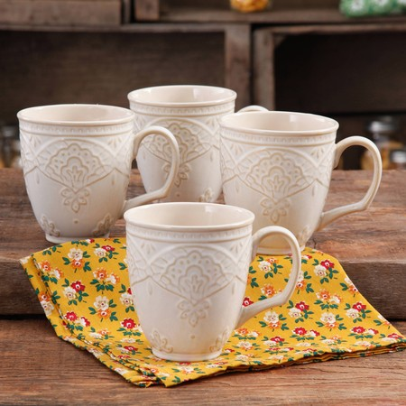 - The Pioneer Woman Farmhouse Lace Mug Set, 4-Pack