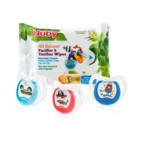 Nuby Comfort Orthodontic Pacifier and Pacifier Wipe Combo 3 Pack - Neutral
