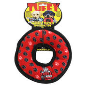 Red Dog Tuffy Red Dog Ring Dog Toy, Multicolor