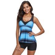 9055f8feba Topcobe Plus Size Swimsuits for Women, Black V Neck Gradient Skirted Tankini  Beachwear Swimdress for