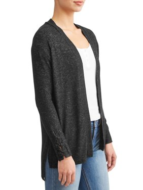 Women's Cozy Cardigan with Lace Cuff Detail