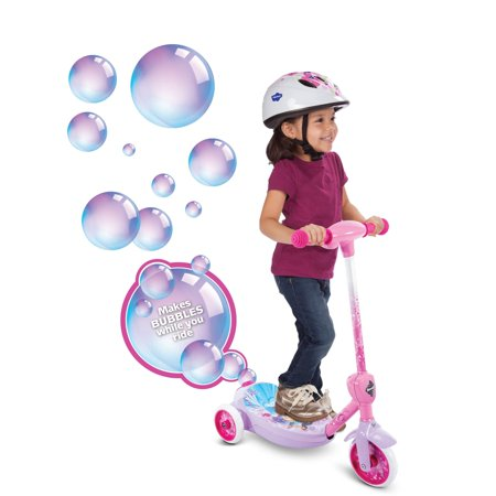 Disney Princess Girls' 6V Electric 3-Wheel Bubble Scooter by Huffy ()