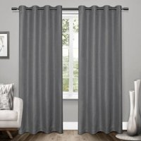 Exclusive Home Curtains 2 Pack Tweed Textured Linen Blackout Grommet Top Curtain Panels
