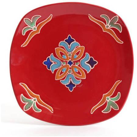 - Better Homes & Gardens Medallion 16-Piece Square Dinnerware Set, Red