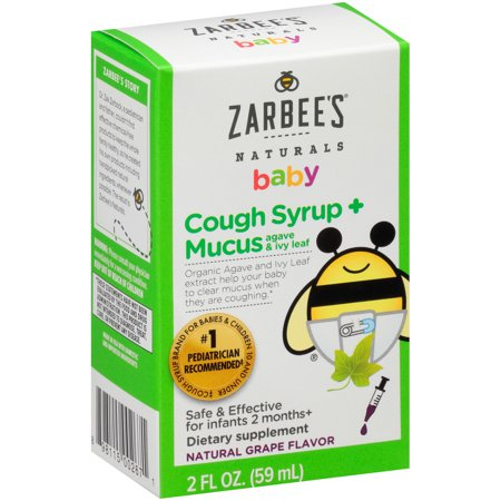 Zarbee's Naturals Baby Cough Syrup + Mucus with Agave & Ivy Leaf , Natural Grape Flavor, 2 Fl. Ounces (1 Box) Childrens Formula Cough Syrup