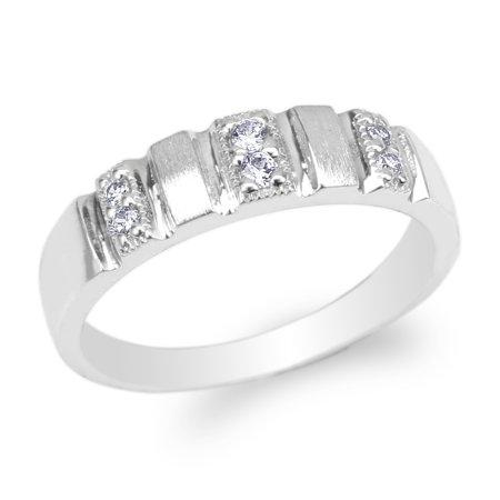 Womens 10K White Gold Round CZ Fancy Wedding Band Ring Size 4-10 Center Fancy Wedding Bands