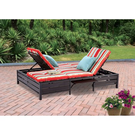 Mainstays Outdoor Double Chaise Lounger, Stripe, Seats 2 ()