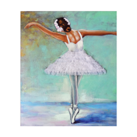 Hand Painted Green Ballerina with embellsihed Tutu dress