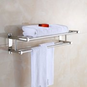 Hilitand Dual-level Bath Towel Holder with 6 Towel Rails Stainless Steel Towel Rack Luxury