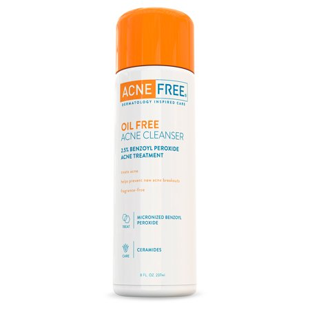 AcneFree Oil Free Acne Face Wash with 2.5% Micronized Benzoyl Peroxide, 8 fl oz.