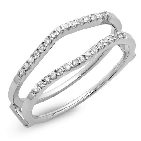18k Yellow Gold Enhancer (Dazzlingrock Collection 0.18 Carat (ctw) 18K Round Diamond Ladies Wedding Band Enhancer Guard Double Ring, White Gold, Size)