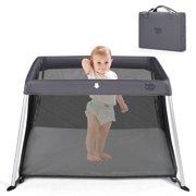 Costway Portable Baby Playpen Playard Lightweight w/ Travel Bag For Newborn Dark Gray