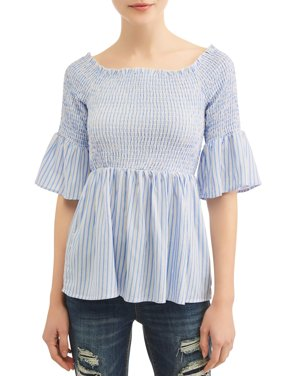 Juniors' Striped Smocked Bell Sleeve Babydoll Blouse