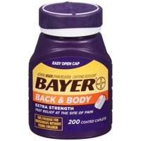 Bayer Back & Body Extra Strength Pain Reliever Aspirin w Caffeine, 500mg Coated Tablets, 200 Ct