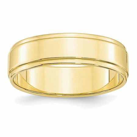 10k Yellow Gold 6mm Flat w/Step Edge Band Ring