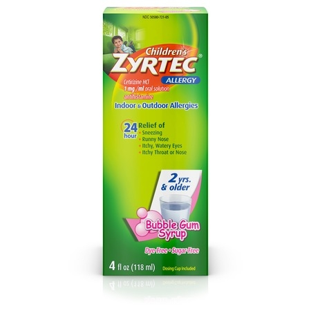 Zyrtec 24 Hr Children's Allergy Relief Syrup, Bubble Gum, 4 fl.