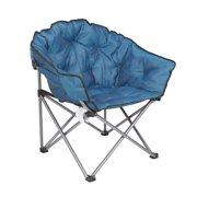 Mac Sports Folding Portable Padded Outdoor Club Camping Chair With Bag Blue
