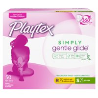 Playtex Simply Gentle Glide Unscented Tampons Multi-Pack (Regular/Super), 50 Ct