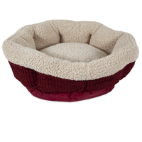 Aspen Pet Self-Warming Round Cat Bed Creme/Red 19""