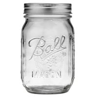 Ball Glass Mason Jar w/Lid & Band, Regular Mouth, 16 Ounces, 12 Count