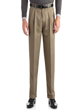 Men's Pleated Cuffed Microfiber Dress Pant With Adjustable Waistband