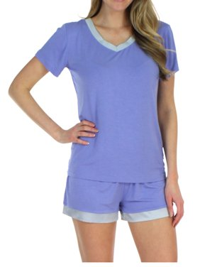 b95effd3e5 Product Image Pajama Heaven Women s Sleepwear Bamboo Jersey V-Neck Top and Shorts  Pajama Set With Satin